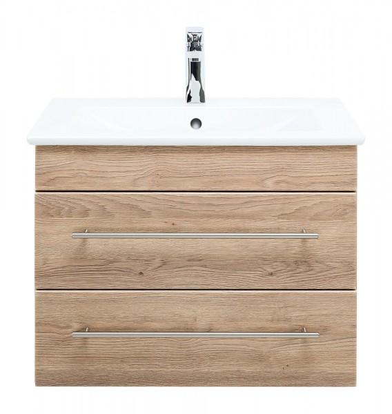Waschbeckenunterschrank 65 cm eiche hell mit Waschbecken Villeroy und Boch Venticello