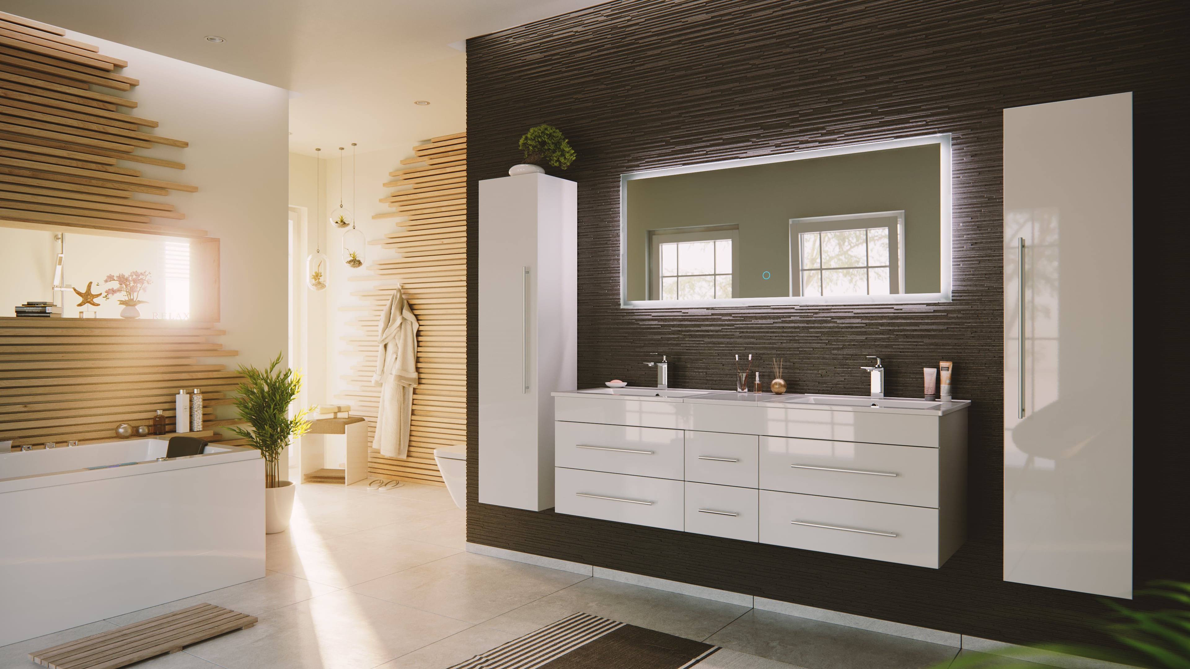 Badmöbelset weiß mit Doppelwaschbecken & Lichtspiegel
