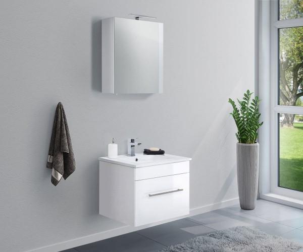 Badmöbel Set in weiß 2 teilig 60 cm breit