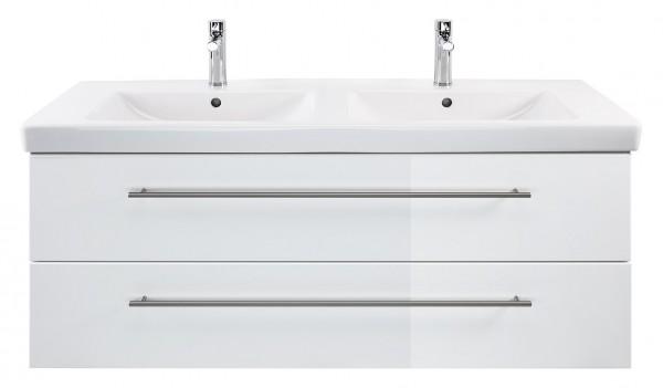 Hochwertiger Badezimmer Unterschrank 130 cm weiss mit Doppelwaschbecken Subway 2.0