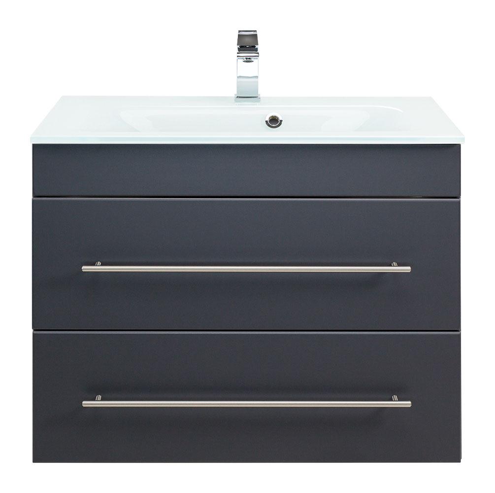 glaswaschtisch mit unterschrank 75 cm anthrazit. Black Bedroom Furniture Sets. Home Design Ideas