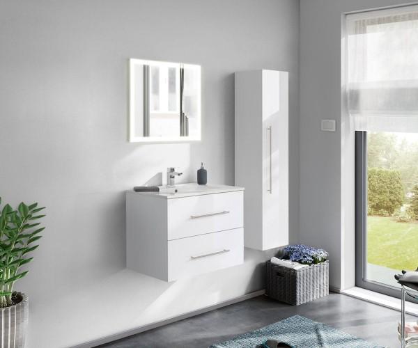 Grosses Badezimmer Set in Weiss mit LED Spiegel mit Touchfunktion 75 cm