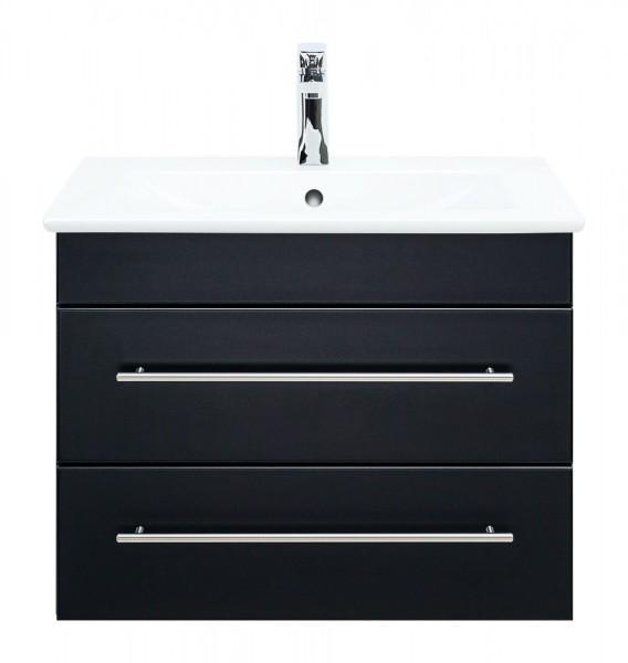 Waschbecken Villeroy und Boch mit Unterschrank schwarz seidenglanz 65 cm