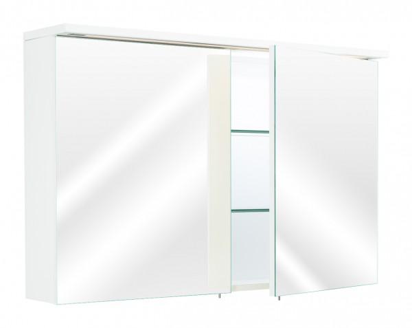 Spiegelschrank Bad mit Lichtleiste und 2 Türen in Hochglanz weiß 100 cm