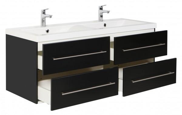 Schöner Badezimmer Unterschrank in schwarz Seidenglanz 143 cm breit mit Doppelwaschbecken