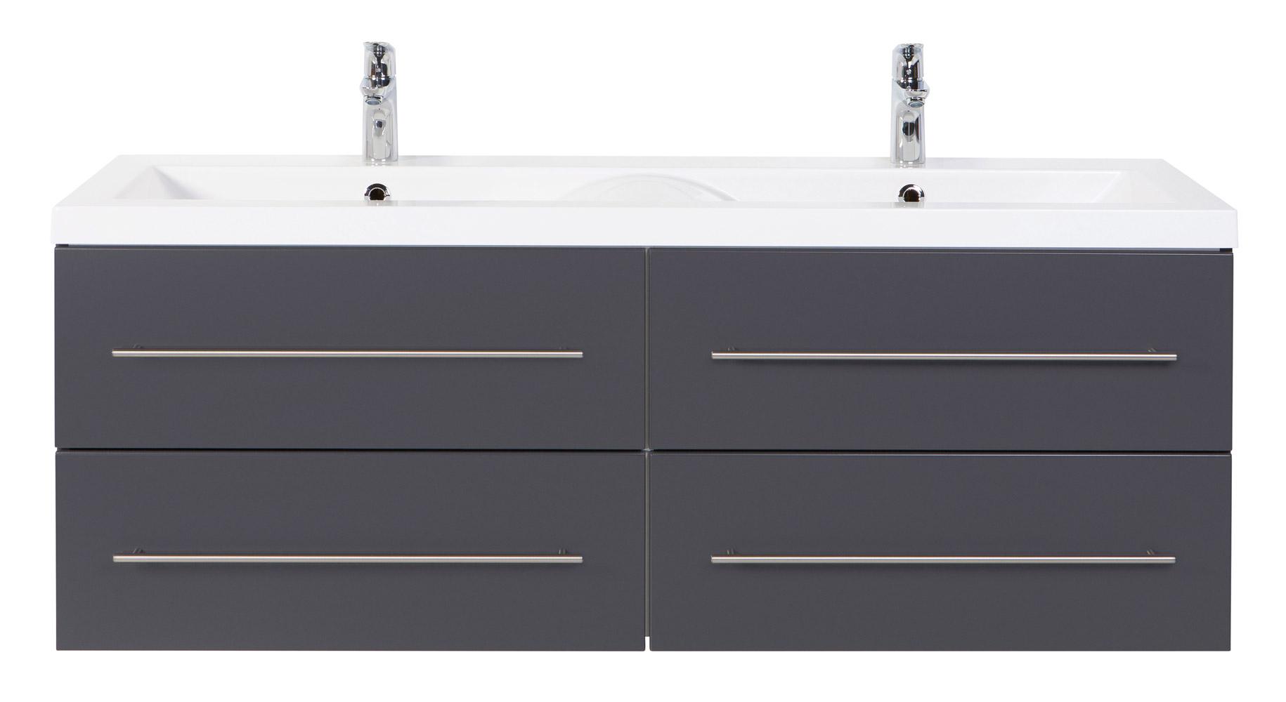 Doppel-Waschtisch inklusive Waschtischunterschrank anthrazit Seidenglanz  144cm