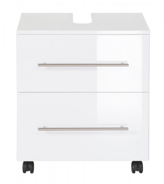 Waschbeckenunterschrank 55 cm mit Rollen hochglanz weiß