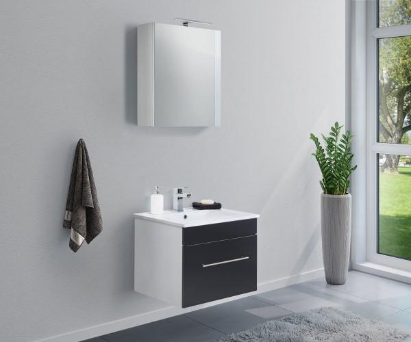 Gäste WC set inkl. Waschbecken und Spiegelschrank schwarz