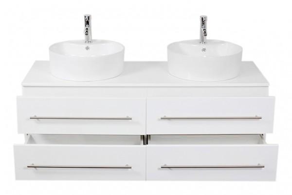 Waschbeckenunterschrank 144 cm Hochglanz weiß mit 2 Aufsatzwaschbecken