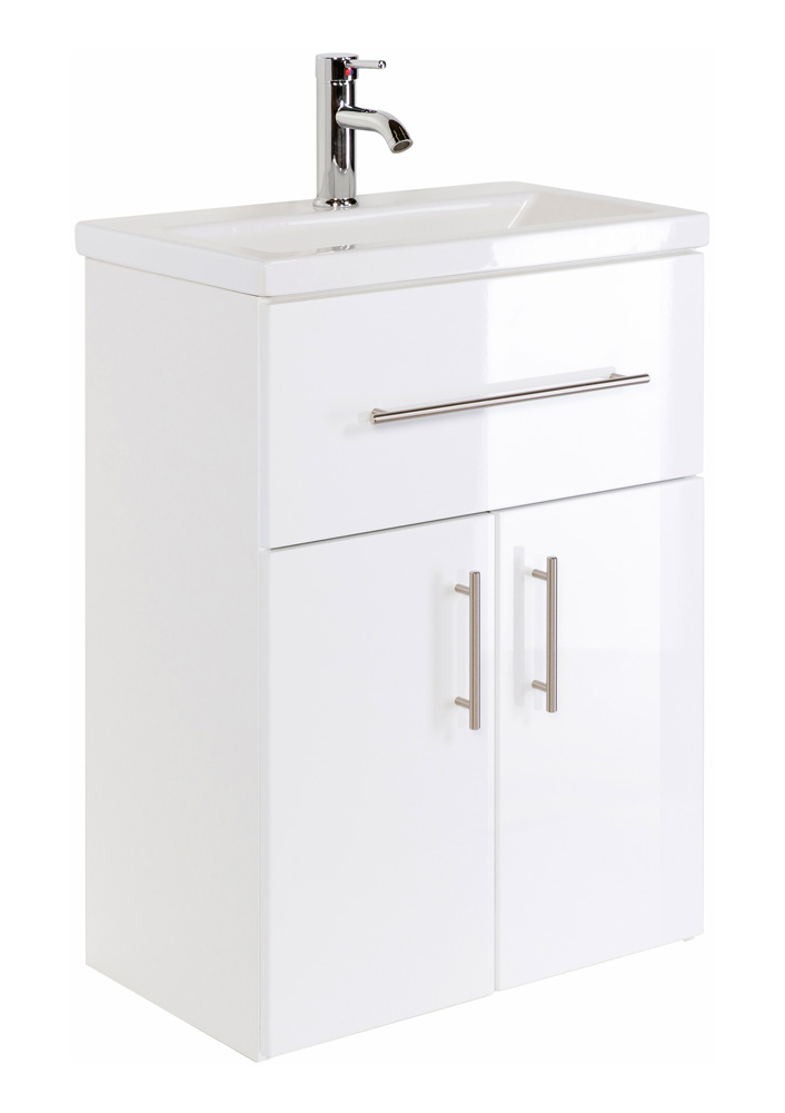 Waschbecken Mit Unterschrank Stehend.Waschbecken Mit Unterschrank Stehend Hochglanz Weiß 60 Cm