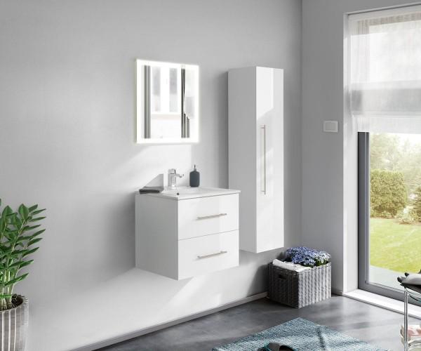 3 teiliges Badezimmer Set Hochglanz weiß mit LED Spiegel