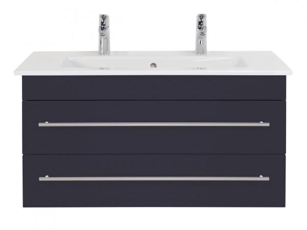 Unterschrank Badezimmer 100 cm anthrazit für Villeroy Boch Venticello Doppelwaschbecken