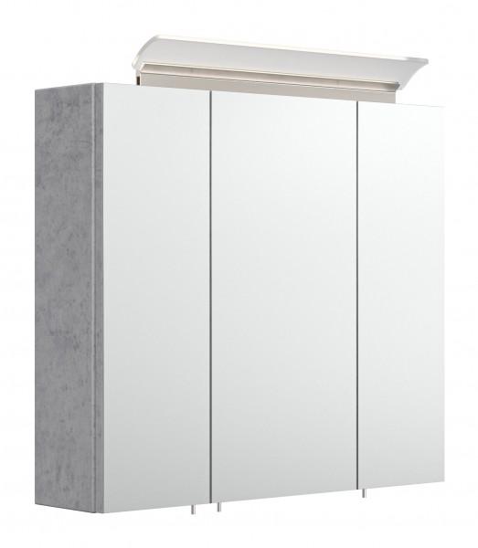 Bad Spiegelschrank 70 cm breit in Beton mit Lampe und 2 Glasböden