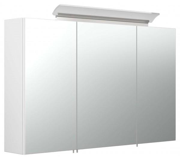 Bad Spiegelschrank weiß Hochglanz 100 cm mit LED Leuchte