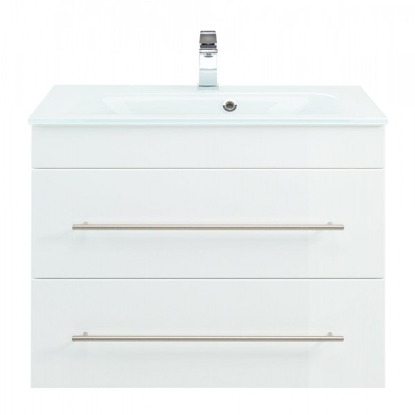 Glaswaschbecken mit Unterschrank Hochglanz weiß 75 cm