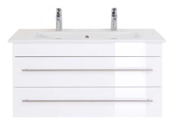 Waschbeckenunterschrank 100 cm weiss für Villeroy und Boch Venticello Doppelwaschbecken