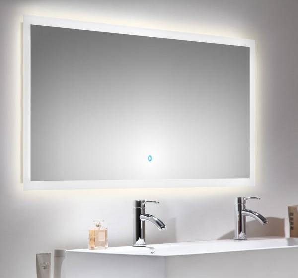 Design Badspiegel mit LED Beleuchtung und Touch Bedienung 140 cm x 60 cm