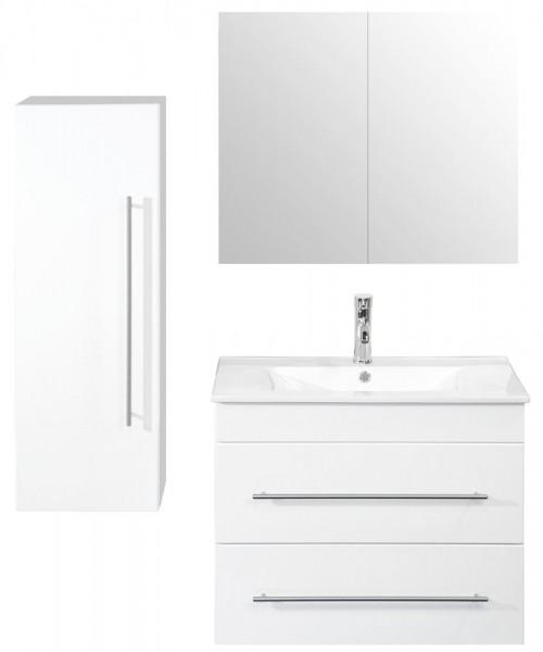 Badmöbel Set aus unserer Sparset Serie in Hochglanz weiß mit Bad Spiegelschrank