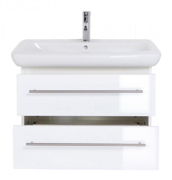 Design Waschtischunterschrank 80 cm weiss Hochglanz mit Waschbecken Keramag It