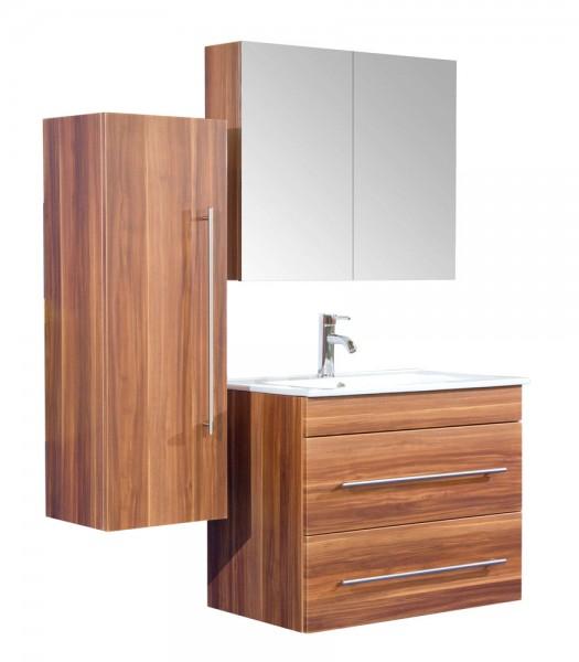 Badmöbel Set mit Spiegelschrank in walnuss