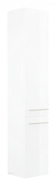 Bad Hochschrank 180 cm hoch mit Wäscheklappe in Hochglanz weiß