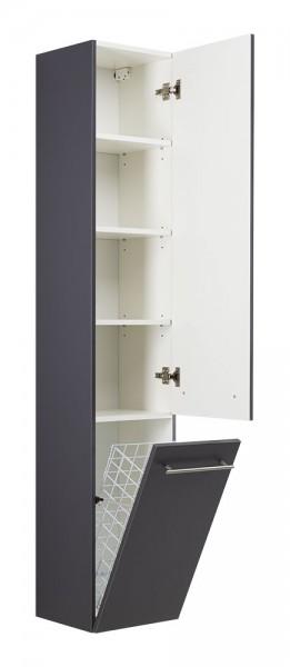 Hochwertiger Bad Hochschrank 180 cm anthrazit Seidenglanz mit Wäsche klappe