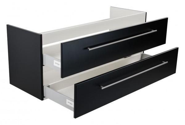 Unterschrank für Doppelwaschtisch Keramag IT schwarz Seidenglanz 130 cm
