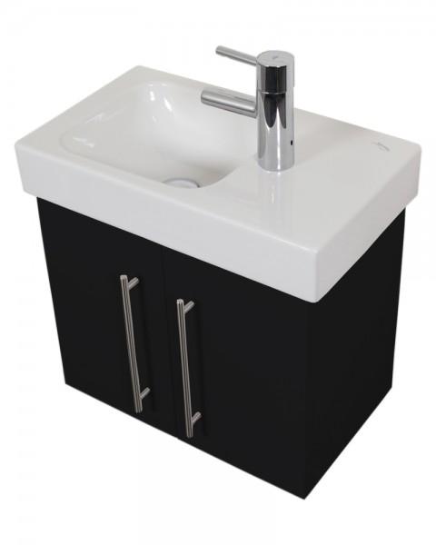 Bad Unterschrank für Keramag Icon Waschbecken in schwarz Seidenglanz 53 cm