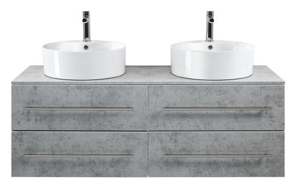 Unterschrank in Beton Optik 144 cm mit 2 Keramik Aufsatzwaschbecken
