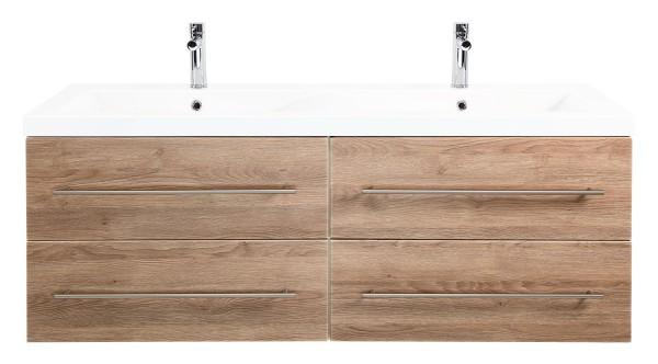 Waschtischunterschrank mit 4 Schubladen Softclose Auszug eiche hell mit Doppelwaschbecken