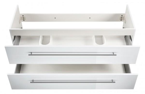 Waschtisch UNterschrank weiß Hochglanz 130 cm für Doppelwaschbecken