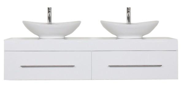 Doppelwaschtisch mit Unterschrank 180 cm Hochglanz weiß mit 2 Design Waschbecken