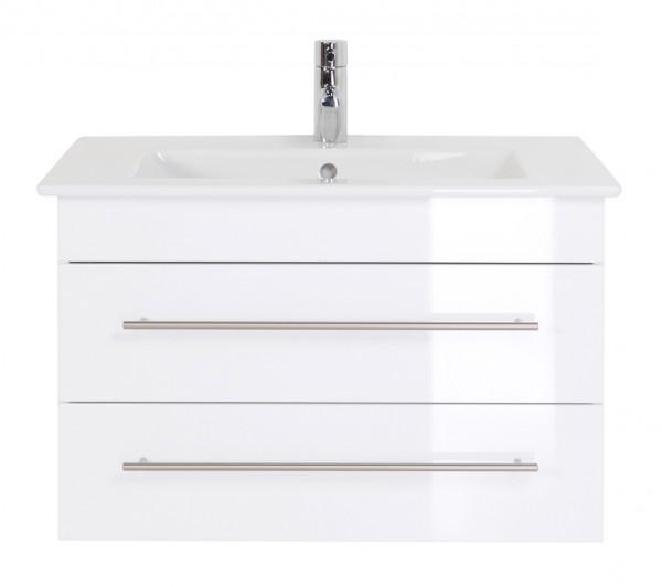 Unterschrank 80 cm weiß Hochglanz für Villeroy und Boch Waschbecken
