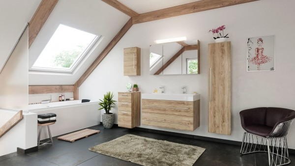 5 teiliges Badmöbel Set eiche hell Seidenglanz