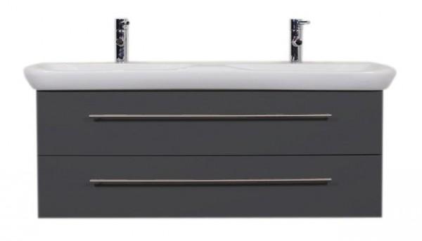 Waschbeckenunterschrank 130 cm breit in anthrazit mit Doppelwaschbecken Keramag Myday