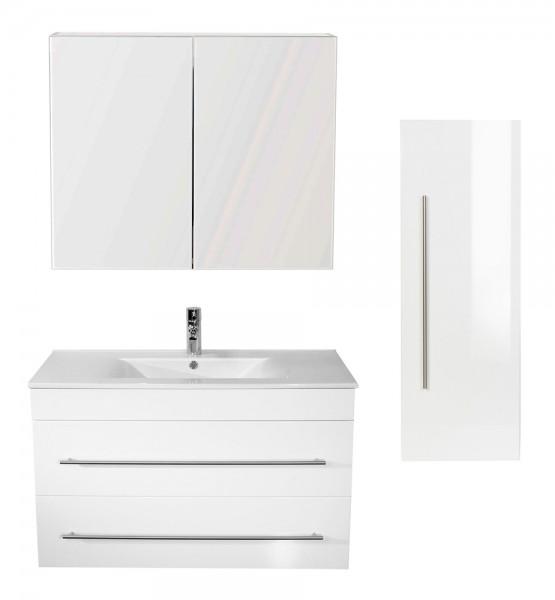 Badezimmer Sparset hochglanz weß mit Waschtisch 100 cm onliine kaufen bei Badmoebel.org