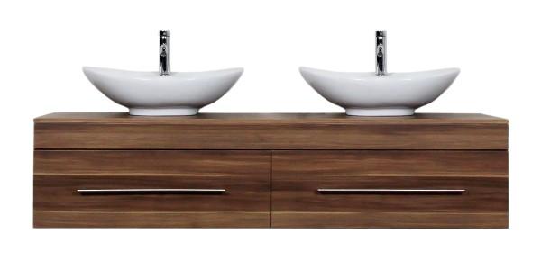 kaufen Sie 2 Designer Keramik Waschbecken mit Unterschrank 180 cm walnuss