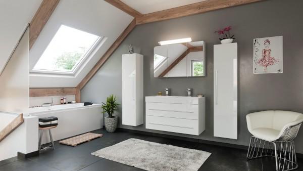 Badmöbel Set nova 100 cm in weiß mit Bad Spiegelschrank