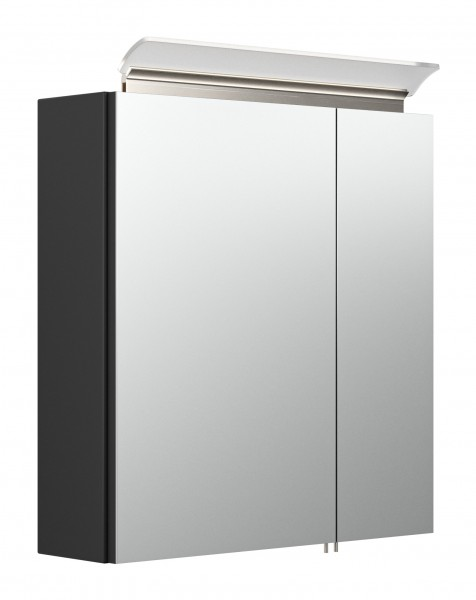 60 cm Spiegelschrank Bad schwarz Seidenglanz