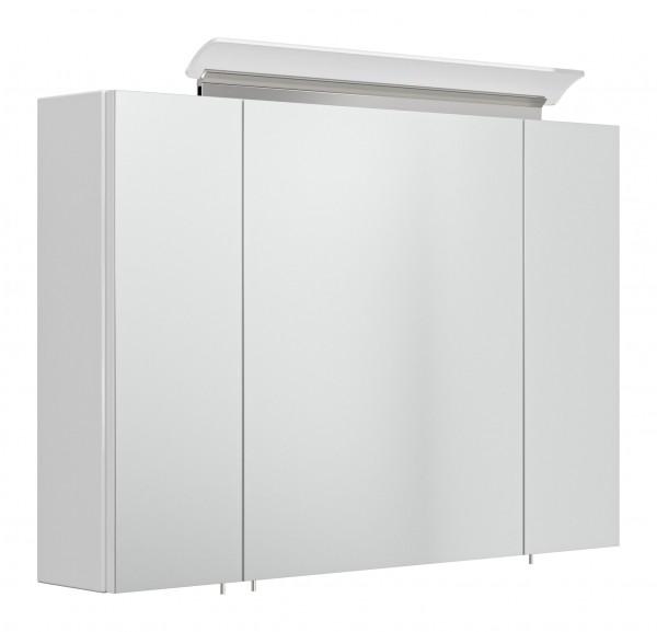 Bad Spiegelschrank Hochglanz weiß 90 cm mit Lampe