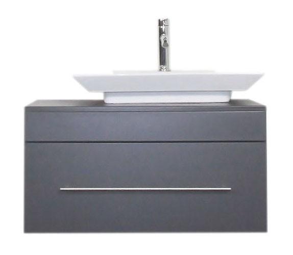 Unterschrank 80 cm anthrazit Seidenglanz mit Aufsatzwaschbecken