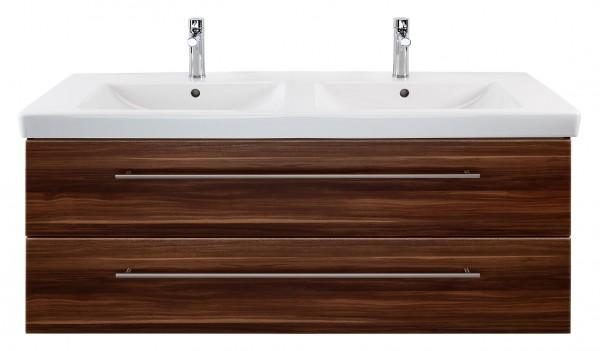 Waschbeckenunterschrank 130 cm in walnuss mit Doppelwaschbecken Subway 2.0