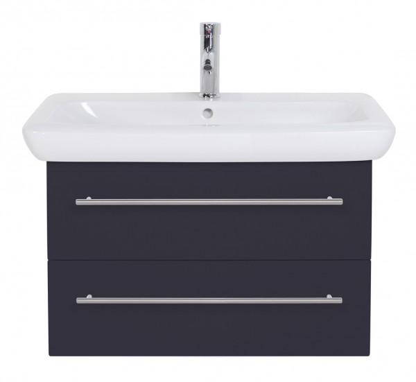 Badezimmer Unterschrank 80 cm anthrazit Seidenglanz mit Keramag Waschbecken IT