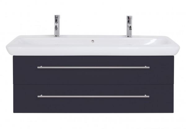 Doppelwaschbecken Keramag It mit Waschbeckenunterschrank 130 cm anthrazit Siedenglanz