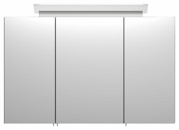 Geräumiger Bad Spiegelschrank 100 cm anthrazit Seidenglanz mit Designer Lampe