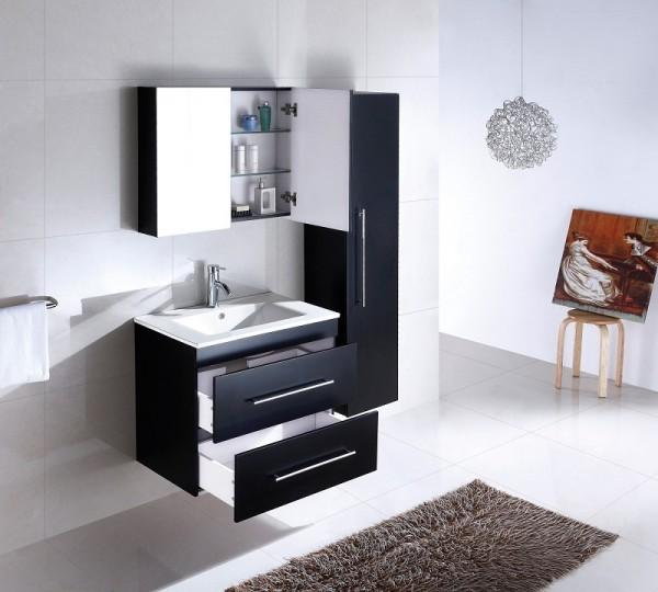 Badmöbel Set 4tlg in schwarz seidenglanz