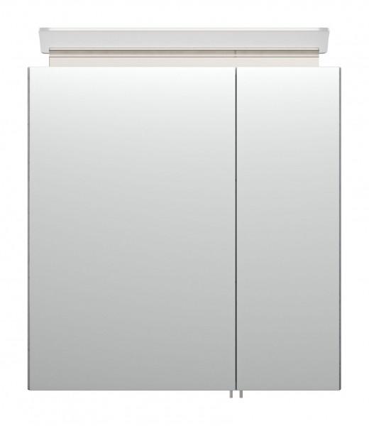 Bad Spiegelschrank 60 cm Beton Optik mit LED Lampe und Glasböden