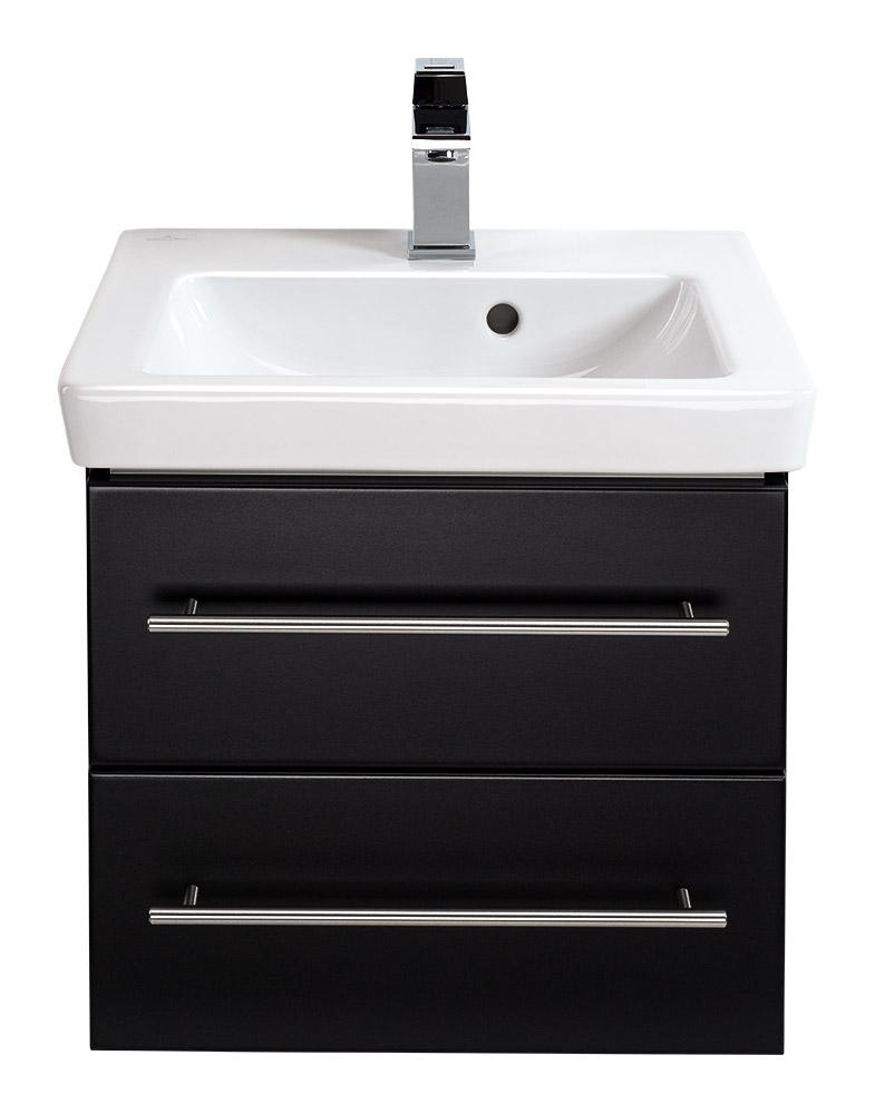 waschtisch mit unterschrank villeroy boch subway 2 0 50 cm schwarz seidenglanz. Black Bedroom Furniture Sets. Home Design Ideas