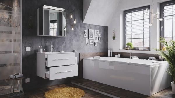 Badmöbelset Firenze Hochglanz weiß mit Spiegelschrank 70 cm