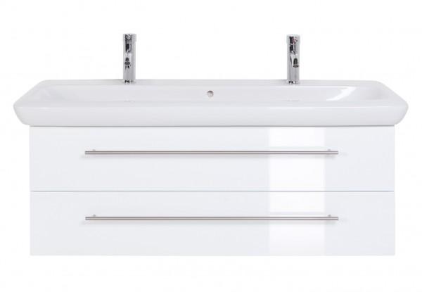 Doppelwaschbecken Keramag It mit Unterschrank 130 cm Hochglanz weiss